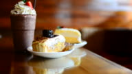 HD:Coffee shop with cake and coffee for relaxation video