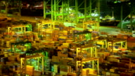 HD:Container yard operation at night. video