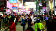 HD:Crowd people walking on the road at night. video