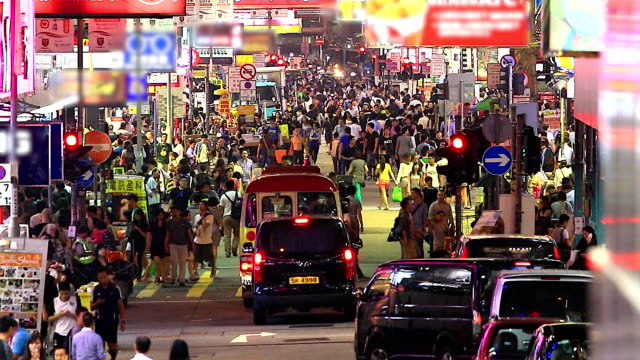 HD:Crowd people walking on the road at night.(Timelapse) video