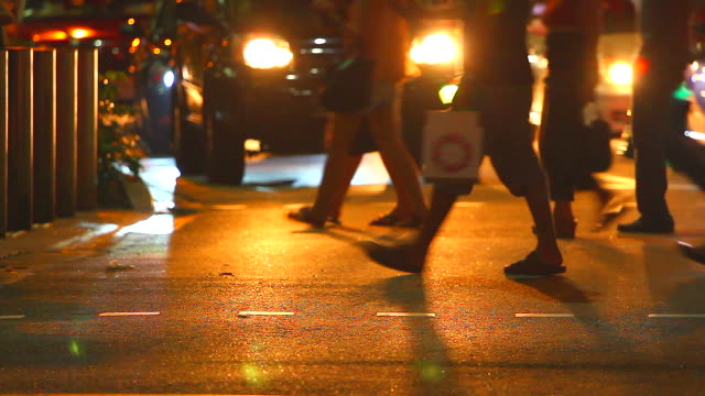HD:Crowd people walking on the street at night. video