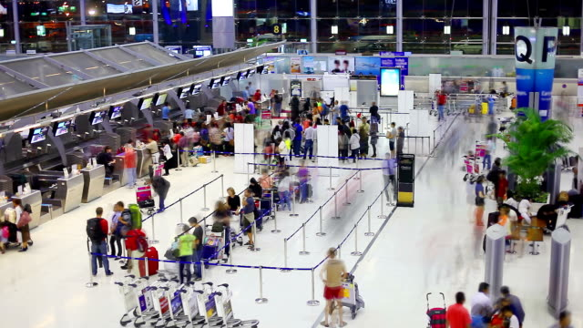 HD:Crowd traveller waitnig in row to check-in at the Airport. video