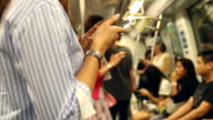HD:Crowded people in the mass public transportation video