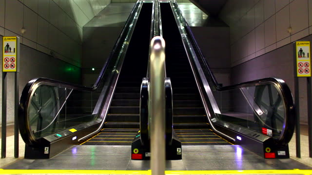 HD:Empty escalator move up and down. video