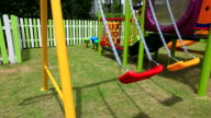 HD:Empty swing at playground. video