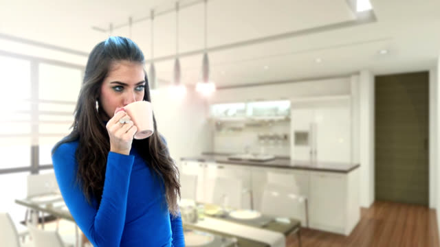 HD:Girl holding cup of coffee video