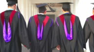 HD:Group of graduate students holding their diploma after graduation video