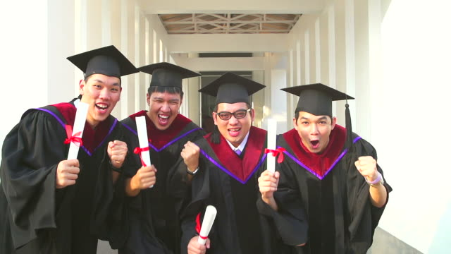 HD:Group of successful students on their graduation day. video