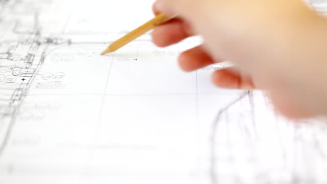 HD:Hand checking drawing work. video