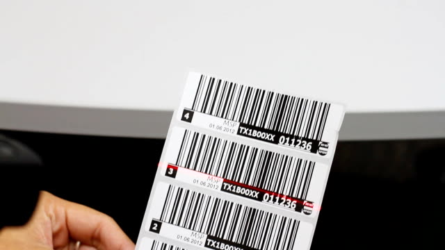 HD:Hand holding a handheld and read the barcode. video