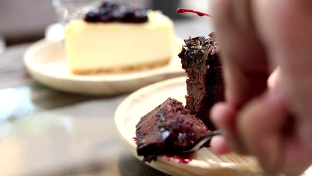 HD:Hand taking a piece of cake ,chocolate cake video