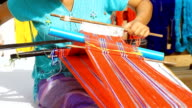 HD:Hand weaving on loom in Thailand video