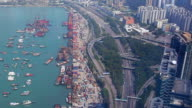 HD:Hong kong road and local cargo port.(Timelapse) video