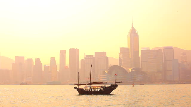 HD:Hong kong traditional sailing junk silhouette scene. video