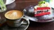 HD:Hot coffee with strawberry cake video