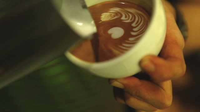 HD:Latte art,Milk pouring by a Barista. video