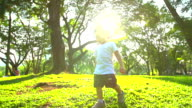 HD:Little boy learning in nature at the park with sunset background. video