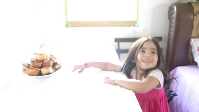 HD:Little girl &Eating &Muffin video