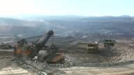 HD:Loading of iron ore on very big dump-body truck. video