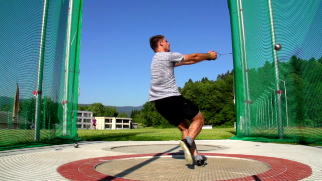HD:Locked down, Shot of male hammer thrower in action video
