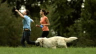 HD:Loving Couple Running With Their Dog video