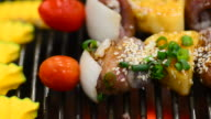 HD:meat grill skewer kebabs on barbecue grill video