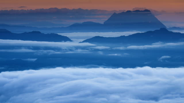 HD:Mountain nature time-lapse of misty clouds fast movement video