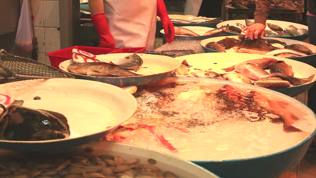 HD:Oxygen in fish tray at the market. video