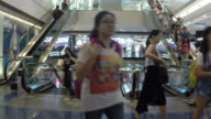 HD:People moving on escalator in shopping mall.(Timelapse) video