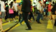 HD:People walking on crosswalk in Hong kong. video
