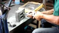 HD:Polishing metal with a tool. video