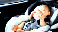 HD:Portrait of little baby in safety carseat. video