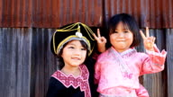 HD:Portrait of two girls with traditional dress. video
