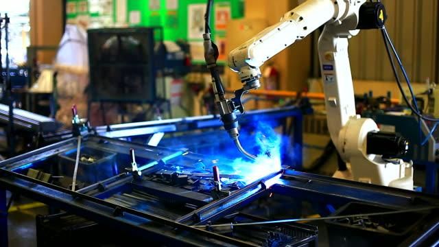 HD:Robotic arm welding. video