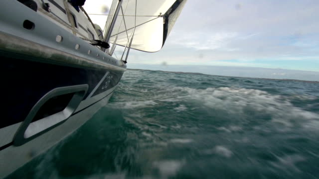 HD:Sailing boat at full speed from water line video