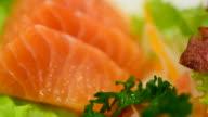 HD:Salmon sashimi and sushi bar video