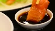 HD:Sashimi bar Japanese Food at Japanese restaurant video