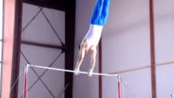 HD:Shot of Male Gymnast Performing Routine on Horizontal Bar video