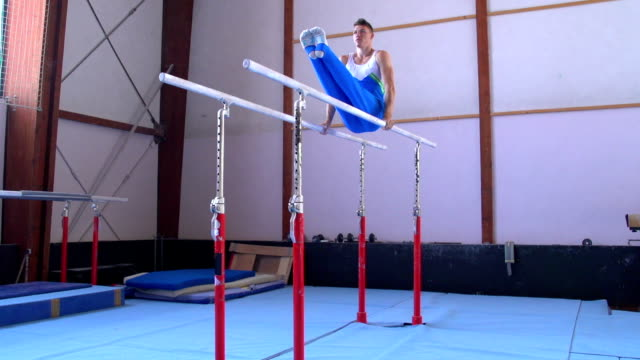 HD:Shot of Male Gymnast Performing Routine on Parallel Bars video