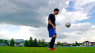 HD:Shot of Soccer Player Practicing Kick-ups video