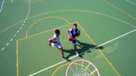 HD:Slo-Mo Shot of Two Young Players Doing Jump-Shot and Block video