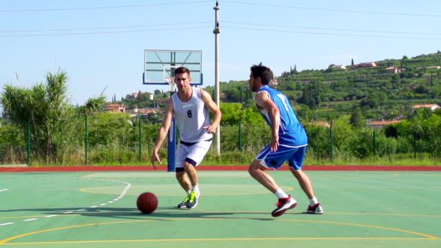 HD:Slo-Mo Video of Basketball Players Performing Jump Shot and Block video