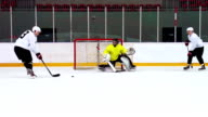 HD:Slow Motion Shot of Ice Hockey Players in Offensive Action video