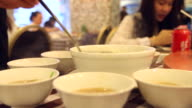 HD:Soup serving a ladle at chinese restaurant. video