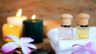 HD:Spa still life of massage oil. video