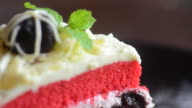 HD:Strawberry cream cake serving and cutting video