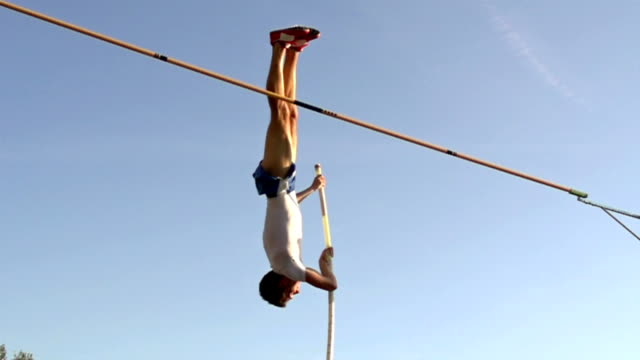 HD:Super Slo-Mo Shot of Young Athlete at Pole Vault video