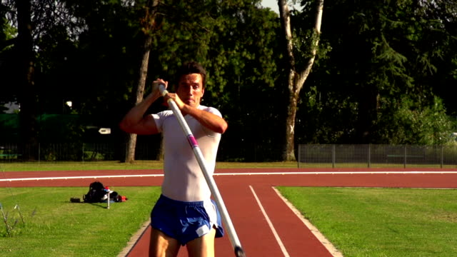 HD:Super Slo-Mo Shot of Young Athlete Performing at Pole Vault video