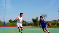 HD:Super Slo-Mo Shot of Young Players Practicing Jump-Shot and Block video