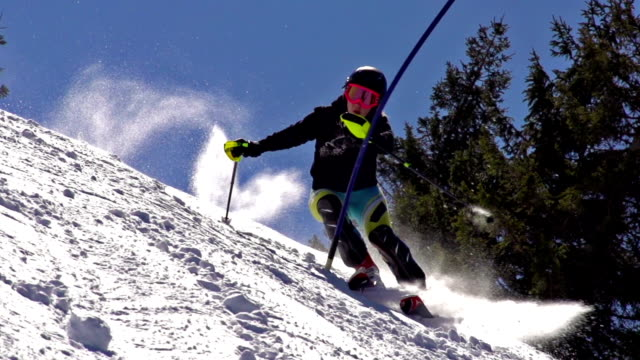 HD:Super-Slo-Mo: Professional Female Skier Practicing Slalom video